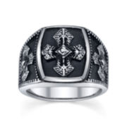 Maksim Mens Stainless Steel Cross Ring