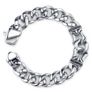 Maksim Black Cubic Zirconia Stainless Steel Bracelet