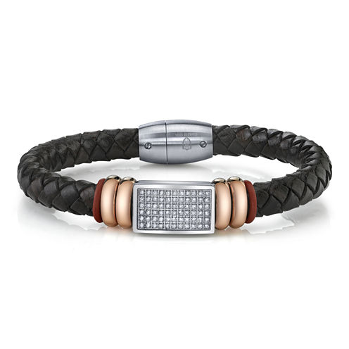 Maksim Cubic Zirconia and Steel Leather Bracelet