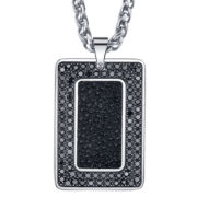 Maksim Stainless Steel Leather Dog Tag Necklace