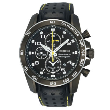 jcpenney.com | Seiko® Mens Black Chronograph Leather-Strap Watch  SNAE67