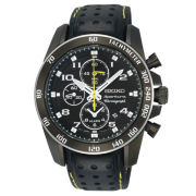 Seiko® Mens Black Chronograph Leather-Strap Watch