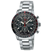 Seiko® Mens Multifunction Silver-Tone Solar Watch