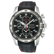 Seiko® Mens Watch, Chronograph Black Leather