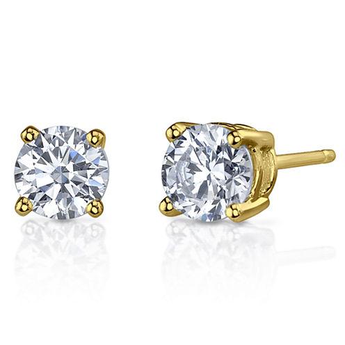 1 CT. T.W. Diamonore™ Simulated Diamond 14K Yellow Gold Stud Earrings