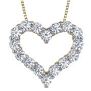 Simulated Diamond, Diamonore™ Heart Pendant 1 CTW