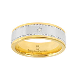 BEST VALUE! Ceramic & Tungsten Ring with Diamond Accent