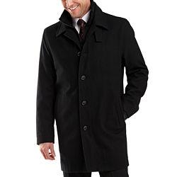 JF J.Ferrar Mens Double Knit Collar Jacket - Black/Charcoal