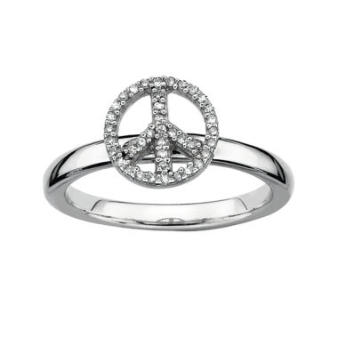 jcpenney.com | Personally Stackable 1/10 CT. T.W. Diamond Peace Sign Stackable Ring