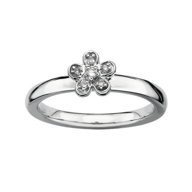 jcpenney.com | Personally Stackable Diamond-Accent Silver Flower Ring
