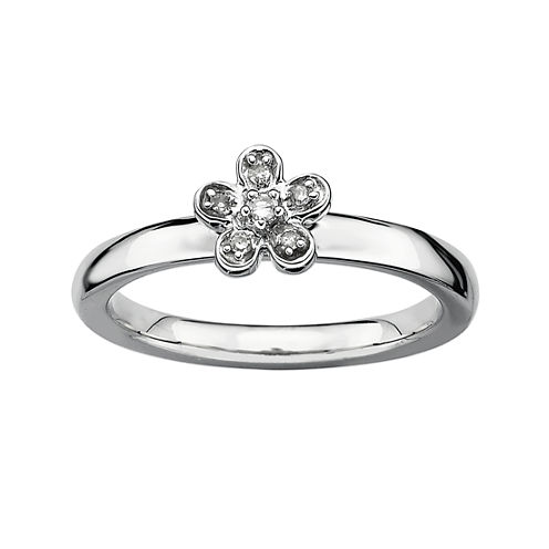 Personally Stackable Diamond-Accent Silver Flower Ring