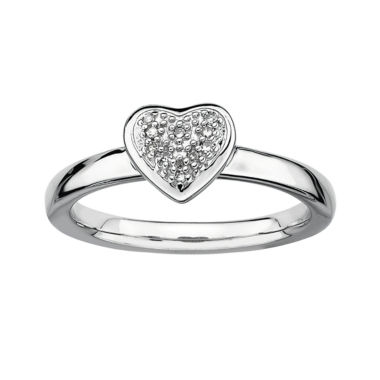 jcpenney.com | Personally Stackable Diamond-Accent Silver Heart Ring