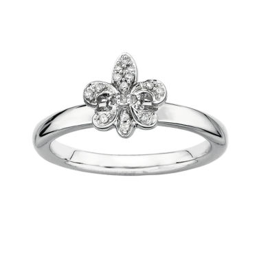 jcpenney.com | Personally Stackable Diamond-Accent Fleur De Lis Ring Silver