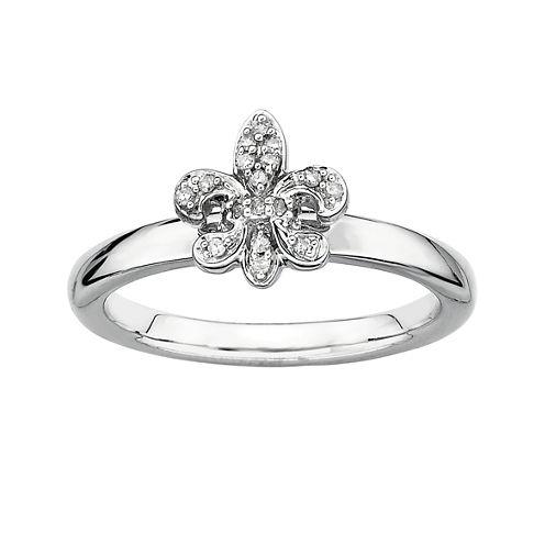 Personally Stackable Diamond-Accent Fleur De Lis Ring Silver