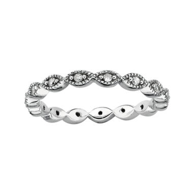 jcpenney.com | Personally Stackable 1/4 CT. T.Diamond Silver Flower Ring