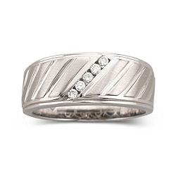 Mens 1/8 CT. T.W. Diamond Band Sterling Silver