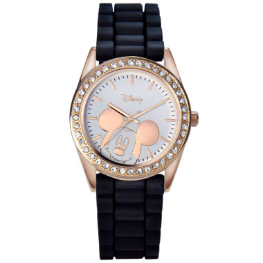 jcpenney.com | Disney Mickey Mouse Rose-Tone Black Strap Watch