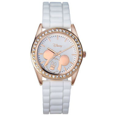 jcpenney.com | Disney Mickey Mouse Rose-Tone White Strap Watch