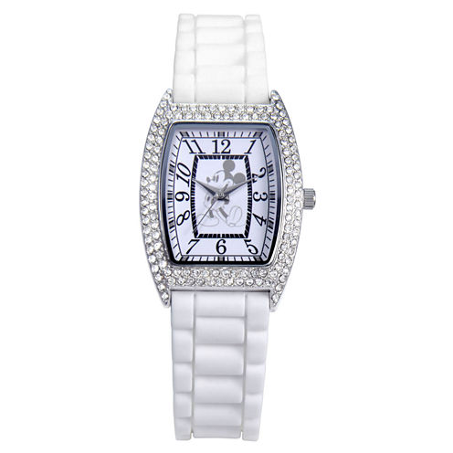 Disney Mickey Mouse Crystal Accent White Strap Watch