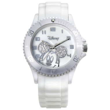 jcpenney.com | Disney Mickey Mouse Crystal Accent White Resin Watch