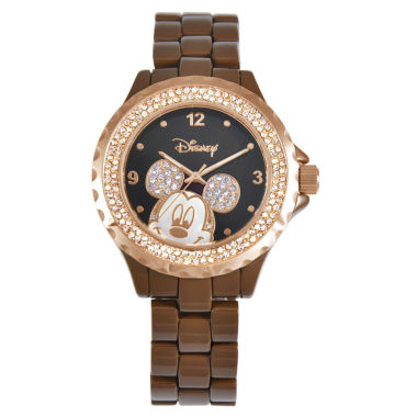 jcpenney.com | Disney Mickey Mouse Crystal Accent Brown Enamel Watch