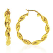 14K Gold over Bronze Twist Hoop Earrings
