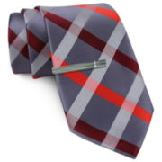 JF J. Ferrar® Gray Plaid Tie