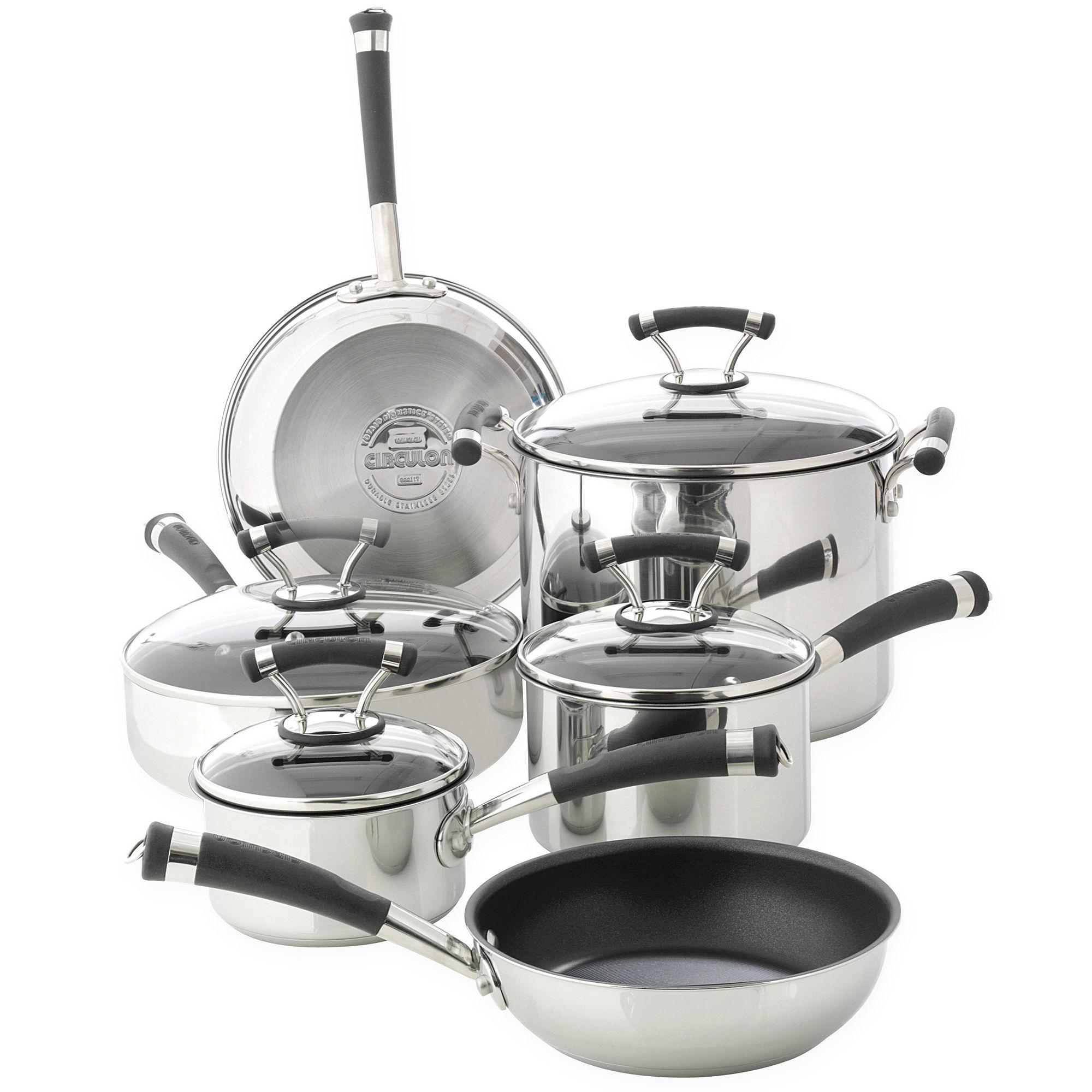 Cheap circulon 10 pc stainless steel cookware set bonus for Harga kitchen set stainless per meter