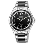 Citizen® Womens Black Ceramic Diamond-Accent Watch EM0031-56E