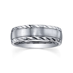 BEST VALUE! Stainless Steel Diamond-Cut Ring - Mens Band