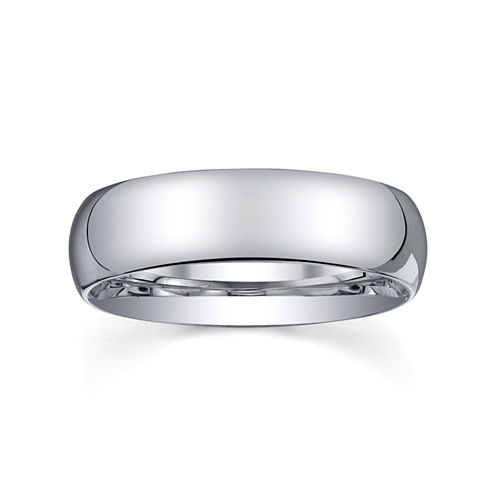 6mm Silver Domed Mens Wedding Ring