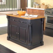 Extendable Top Black Monarch Kitchen Island
