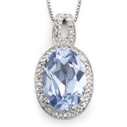 Simulated Aquamarine & Diamond-Accent Pendant Necklace