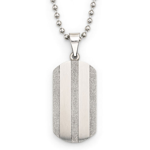 Two-Tone Stainless Steel Striped Dog Tag