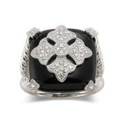 Onyx and Diamond Accent  Ring in Sterling Silver