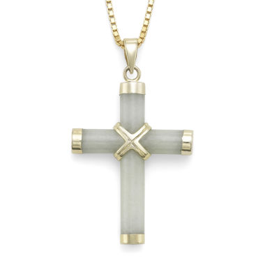 jcpenney.com | Jade Cross Pendant Necklace w/ 14K Yellow Gold-Plated Sterling Silver Accents