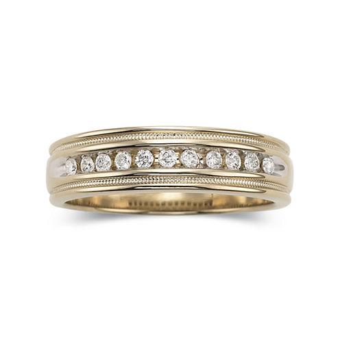 Men's 1/2 CT. T.W. Diamond Ring in 14K Gold Over Sterling