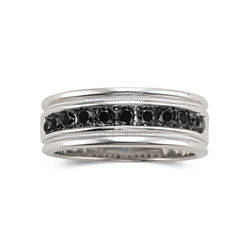 Mens 1/2 CT. T.W. Black Diamond Ring Sterling Silver