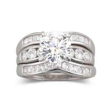 DiamonArt Cubic Zirconia Engagement 3 Ring Set JCPenney