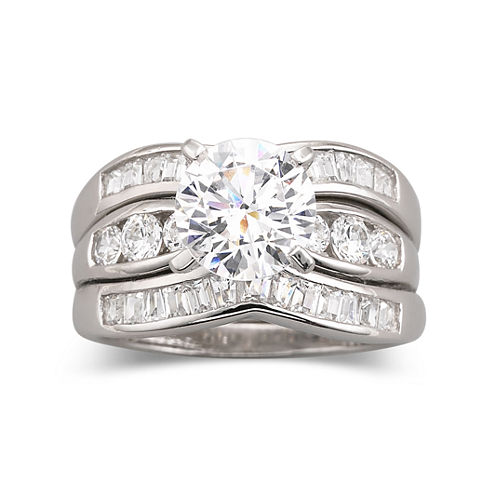 diamonart cubic zirconia engagement 3 ring set - Jcpenney Wedding Ring Sets