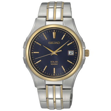 jcpenney.com | Seiko® Mens Two-Tone Blue Dial Watch SNE124