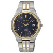 Seiko® Mens Two-Tone Blue Dial Watch SNE124
