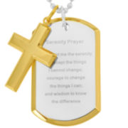 "Stainless Steel ""Serenity Prayer"" Dog Tag & Cross"