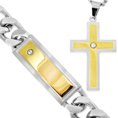 jcpenney.com | Stainless Steel & Cubic Zirconia Cross Pendant Necklace & Bracelet Set
