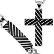 Two-Tone Stainless Steel Cross Pendant & Bracelet