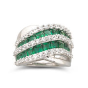 Sterling Silver Lab Created Emerald & White Sapphire Ring