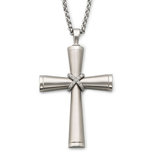 Men's Stainless Steel Diamond-Accent Cross Pendant