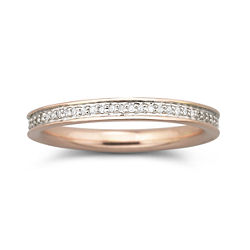 1/5 CT. T.W. Diamond Rose Gold/Silver Channel Band