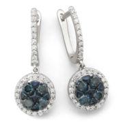 1 CT. T.W. Blue & White Diamond Flower Earrings