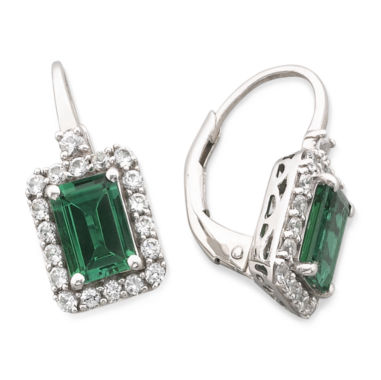 jcpenney.com | Lab-Created Emerald & White Sapphire Earrings